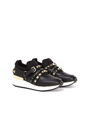 Liu Jo Annie scarpe sneakers slip on nere con zeppa borchie e fibbie oro n° 35