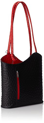 Ctm Tracolla Donna Spalla In Pelle Da Donna, 28x30x9cm, 100% Vera Pelle Made In Italy Multicolore (nero Con Manico Rosso)