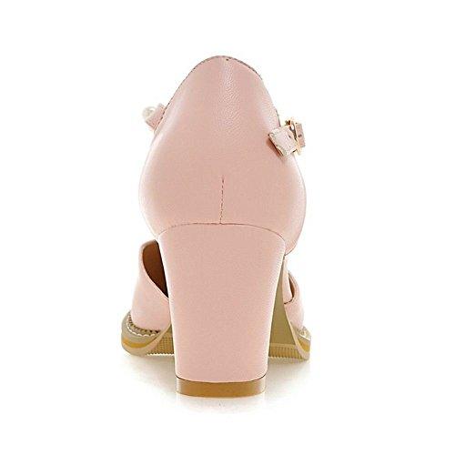 pink Bout Ferme Escarpins Bride TAOFFEN Femmes Cheville wpTqvnCYfx