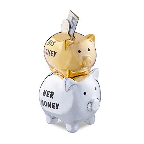 Relaxdays Sparschwein, His & Her Money, 2 Schweine, Lustiges Geldgeschenk für Paare & Hochzeiten, Spardose, Silber/Gold