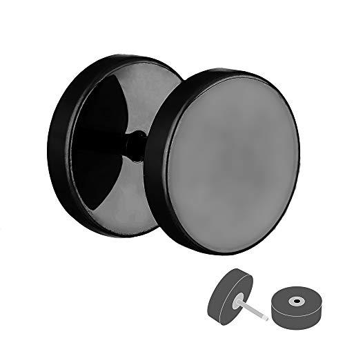 Treuheld® | Fake Plug Ohrstecker aus Chirurgenstahl 316L | 1,2mm x 14mm - Schwarz | Fake Tunnel - Ohrring zum Schrauben für Damen und Herren