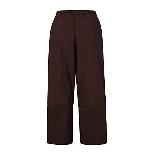 cinnamou Beiläufiges Leinen-weites Bein der Frauen keucht Hosen mit elastischer Taillen-Loser Hose,Leichte Haremshose One Size in Viele Muster