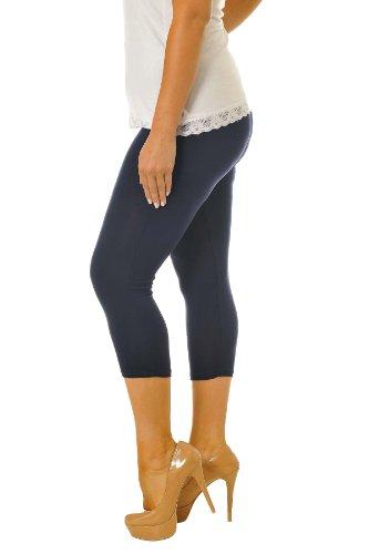 Neu Damen Übergröße Ebene Geerntet Gamaschen Frau Ladies Plus Size Cropped Leggings Nouvelle Collection Marineblau