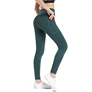 Gym Leggings with 6inches Phone Pocket, ALONG FIT Yoga Pants - Non See-through High Waist Casual Fitness Tights for Womens, High-waisted Deep Green, L