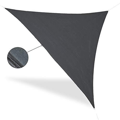 Sun Shade Voile d'ombrage Triangulaire Gris 5 x 5 Protection Solaire Anneaux en métal avec tendeurs