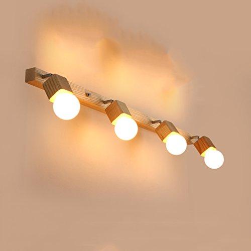 William 337 LED Spiegel Front Ligh, einfache Holz Badezimmer Badezimmer Spiegel Licht Make-up Lampe Spiegel Wandleuchte (Farbe : Weißes Licht-100*6*24cm) (Sechs Licht-spiegel-eitelkeit-lampe)