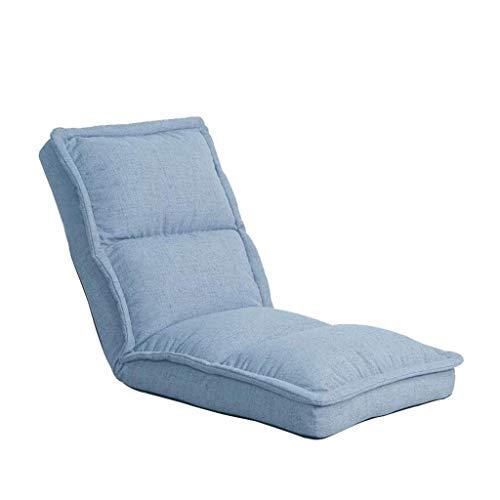JGWJJ Silla Plegable para el Piso con reposacabezas Ajustable y Silla Acolchada con cojín Legrest Gaming Lazy Recliner para Sala de Estar y Sala de recreación (Color : Azul)