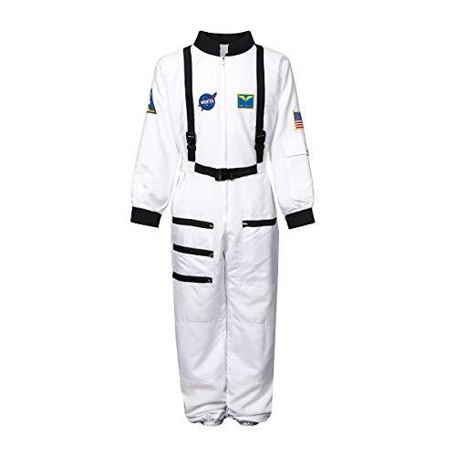 Kostümplanet® Astronauten Kostüm für Kinder + Astronauten Ausweis Astronautenkostüm Kinderkostüm Größe 128