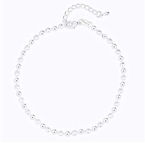 Zmnba Summer Fashion 925 Sterling Silver Chain Anklets For Women Beach Party Beads Ankle Bracelet Foot Jewelry Girl Best Gifts