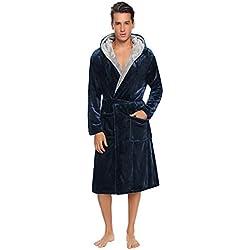 Aibrou Pyjama Homme Polaire Robe Peignoir Pas Cher personnalisé Robe Chambre Homme Longue Hiver - Homme Stlye - Marine - Taille S EU(40-42)