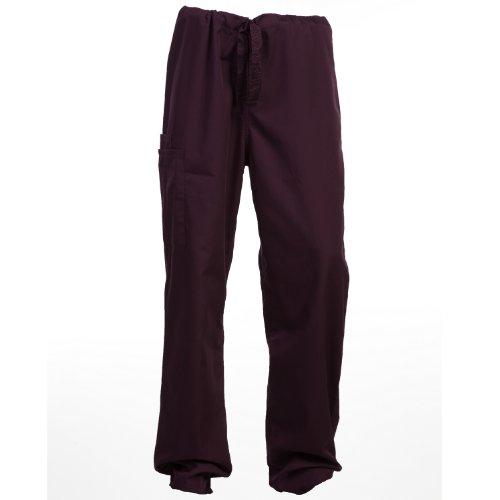 Cherokee Unisex trouser drawstring waist Wine S (Cherokee Drawstring Pant Unisex)