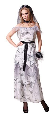 Emmas Wardrobe Zombie Corpse Bride Kostüm für Erwachsene - Seien Sie die Halloween Corpse Bride - UK Größe 8 bis 12 (Women: One Size, Zombie Bride)