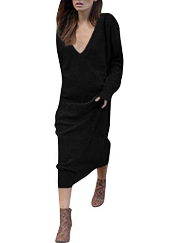 Minetom Femme Robe Col V Manches Longues Lâche Pullover Maxi Robe Élégant Solide Chemises Pull Chic Oversized Jumper Tricots Chandail Tops Gris Foncé 01 FR 42