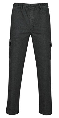 T-MODE Herren Jeans Stretch Schlupfhose Schlupfjeans Gummizughosen Sommer Kollektion-Schwarz-L