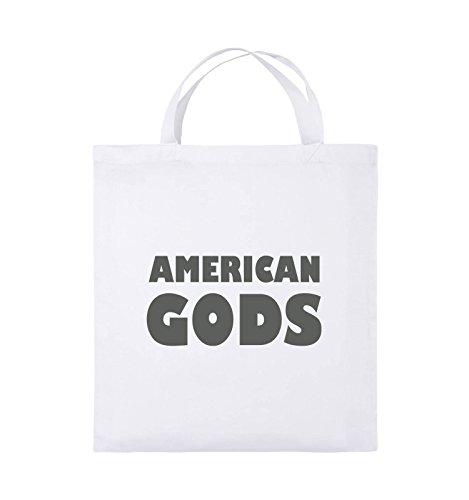 Borse Comiche - American Gods - Logo - Borsa Di Juta - Manico Corto - 38x42cm - Colore: Nero / Argento Bianco / Grigio