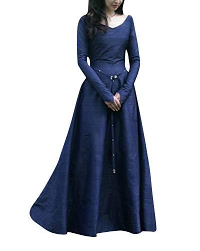 DianShaoA Damen Kleid Maxikleid Retro Boho Kleid Rundhalskleider -