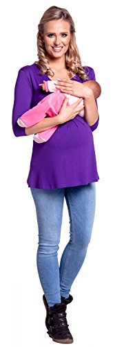 Happy Mama. Damen Umstandsmoden Top Stillshirt Lagendesign Empire-Taille. 945p Lila