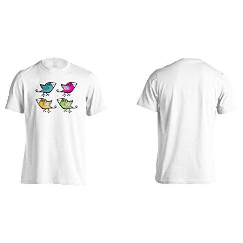 Retro Uccello Bella Arte Uomo T-shirt o190m White