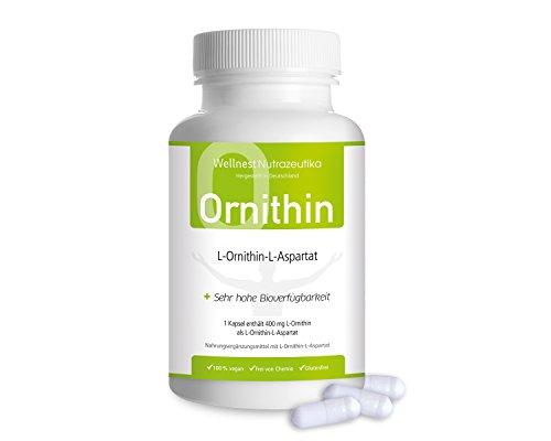 Wellnest L-Ornithin-L-Aspartat Kapseln (100{e4c3ac3d8c15ca37ff432427bff8fc2515aaca2f03830f3147bf03ba1f15cd03} pflanzliche Qualität) 400 mg pro Kapsel ✓ 120 Kapseln ✓ bei Durchschlafproblemen ✓ Vegan Glutenfrei Laktosefrei