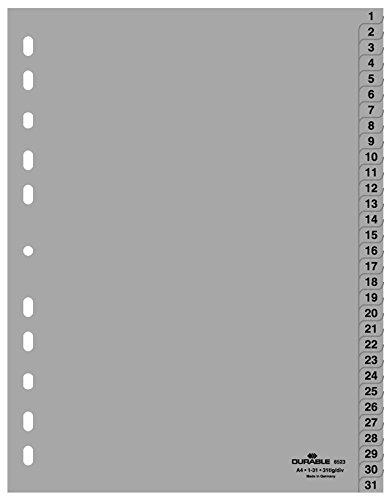 Durable Hunke & Jochheim Register 1 - 31, (PP, DIN A4, 215/230 x 297 mm) 31 Blatt grau