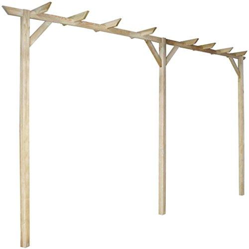 Anself Gartenpergola Anlehn Pergola aus Holz mit drei Pfählen 400 x 40 x 205 cm