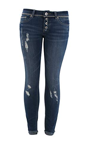 by Eight2Nine Damen Skinny Jeans Used Destroyed Look mit Rissen (38)