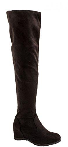 Elara Damen Keilabsatz Stiefel | Overknee Stiefel | Hidden Wedges O-68-Schwarz-37