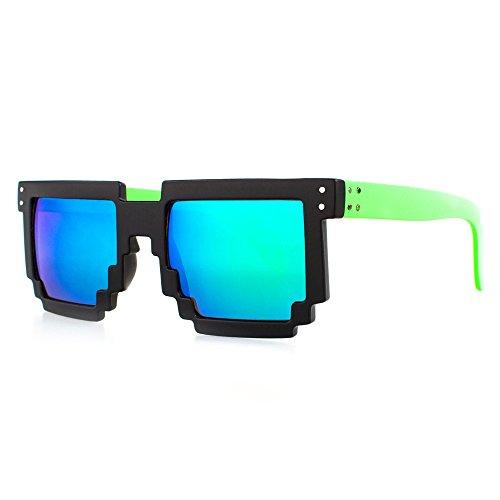 Distressed Pixel Sonnenbrille im Retro Stil 70er 80er (gruen-rahmen-blau/gruen)