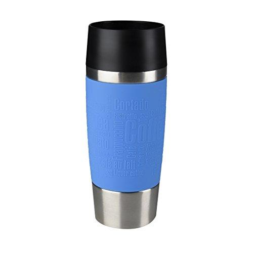 Emsa Isolierbecher Mobil genießen 360 ml Quick Press Verschluss Travel Mug -Blau (Manschette Wasserblau) (Grüner Tee-möbel)