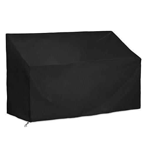 Dokon Copertura per Panca 2 Posti Copertura Panchina Impermeabile Anti Vento Sole Neve Tessuto 420D Oxford Copri Panca da Esterno Giardino Nero