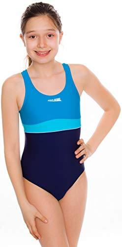 Aqua Speed Emily Badeanzug | Mädchen | Teenager | 134-164 | UV-Schutz | Elastisch | Blickdicht | Chlorresistent Navy-Turquoise-Light Turquise 152