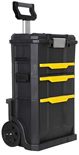 Stanley Rollende Werkstatt (77,8 x 48,8 x 34,8 cm, 2-in-1, modular aufgebaut, drei entnehmbare Werkzeugboxen mit Schnellverschluss, Teleskopgriff aus Aluminium) STST1-70344