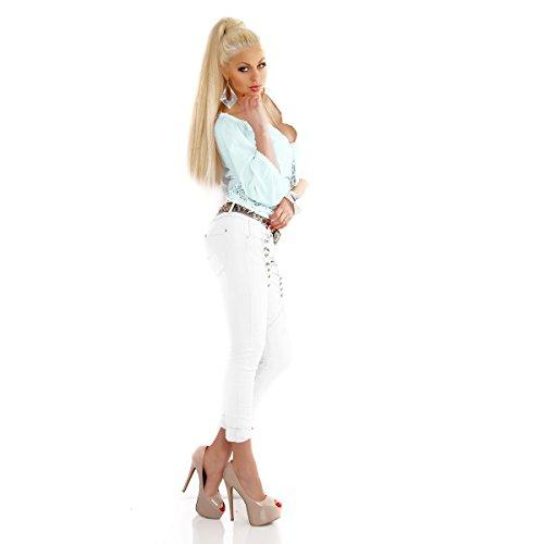 Designer donna Secret Buttons 7 shopdrueck Jeans Skinny Jeans tubo quedane Bianco