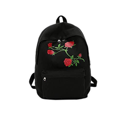 Rosen Stickerei (fhdc Rucksäcke Schultasche Reiserucksack Frauen Mädchen Romantische Stickerei Rose TaschenA)