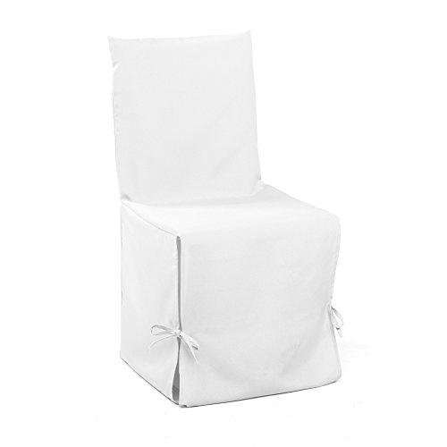 Douceur D'Intérieur  - 1604802, Fodera Per Sedia , 50 X 50 X 50 Cm , Essentiel , Poliestere Unito , Bianco