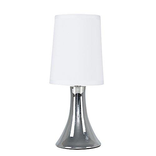 MiniSun - Lámpara de Mesa Moderna Táctil Cromada - Pantalla de Tela Blanca - Clase de eficiencia energética A+ - Iluminación Interior - Lámpara de Sobremesa - Mesilla de noche