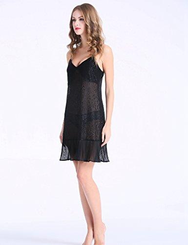 CCI -  Camicia da notte  - Donna Black With Leopard Pattern