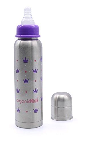 ORGANICKIDZ-Biberon-Inox-Isotherme-sans-BPA-Goulot-Etroit-6-mois-270-ml-Princesse