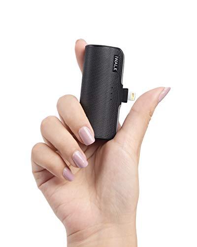 iWALK Klein Power Bank 3350mAh, Mini Externer Akku Tragbares Ladegerät Kompatible für iPhone 11 XS Max X 8 8 Plus 7 7 Plus (Schwarz)