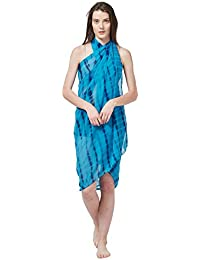 7bf4ace0577 SOURBH Women s Faux Georgette Beach Wear Wrap Sarong Shibori Printed Pareo  Swimsuit Cover Up