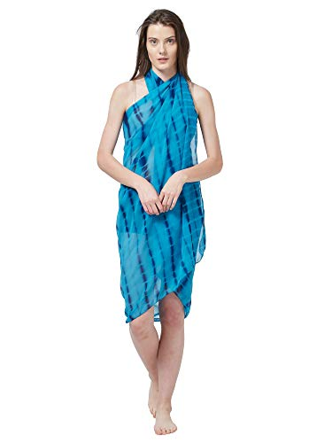 SOURBH Women's Faux Georgette Beach Wear Wrap Sarong Shibori Printed Pareo Swimsuit Cover Up (S371_Turquoise)