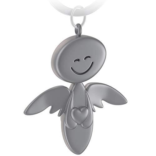 FABACH Schutzengel Schlüsselanhänger Smile mit Herz - Edler Engel Anhänger aus Metall in mattem Silber - Geschenk Glücksbringer Auto Führerschein - Fahr vorsichtig