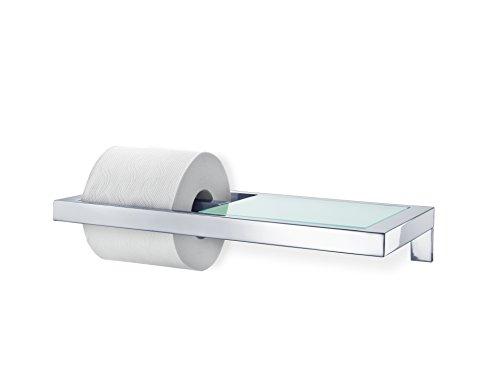 Blomus 68832 WC-Rollenhalter mit Ablage aus satiniertem Glas Menoto, edelstahl poliert