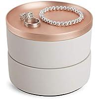 Umbra Tesora - Joyero apilable para el almacenamiento de anillos, aretes, cadenas, relojes, pulseras y accesorios, Concrete/Copper
