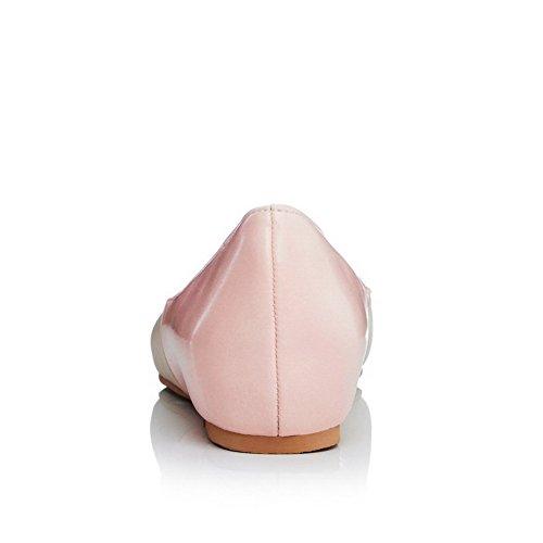 VogueZone009 Donna Tirare Colore Assortito Scarpe A Punta Punta Chiusa Tacco Basso Ballerine Rosa