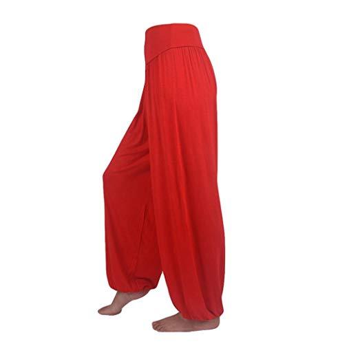 Pantalon Spandex Doux Modal Pantalon Harem Yoga Pilates Pants Lanterne Femmes SANFASHION(Rouge,M)