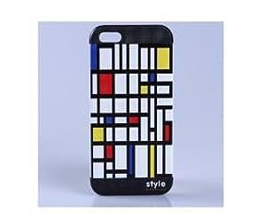 Fantastique amovible PVC Retour Shell Case avec gravure en relief Mondrian modèle pour iPhone 5