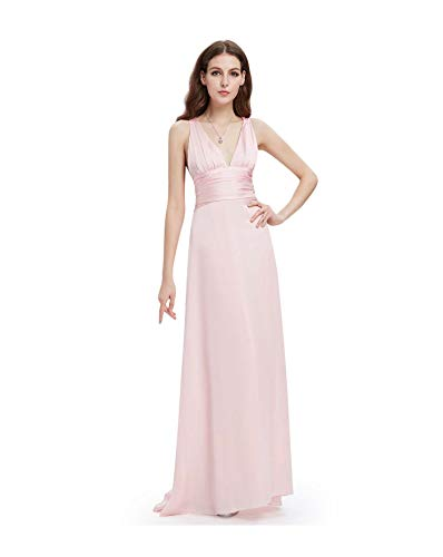 Ever Pretty Long V-Neck Bridesmaid Wedding Dress Pink Party Gown Evening 09008 Pink 16