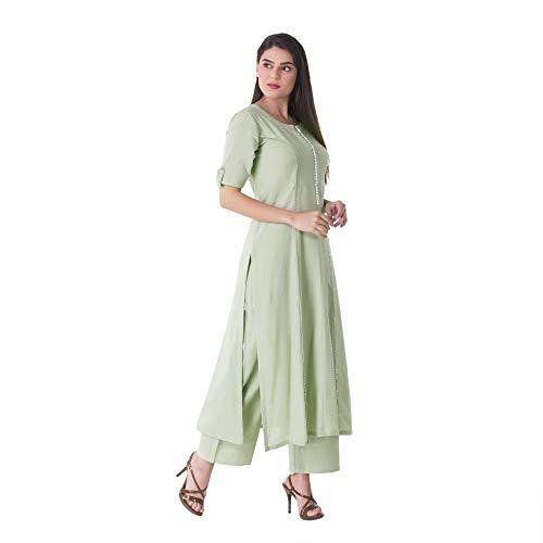 Khushal K Women's Cotton Kurta With Palazzo Pant Set Women's Salwar Suits at amazon