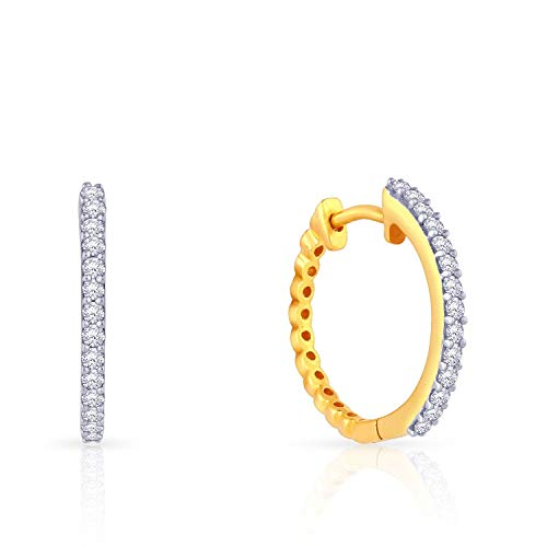 Malabar Gold and Diamonds 18KT Yellow Gold and Diamond Hoop Earrings for Women
